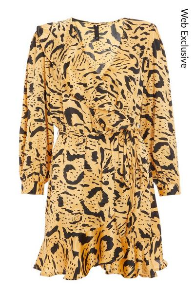 Mustard Satin Animal Print Skater Dress